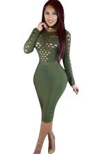 Womens Hollow Out Long Sleeve Plain Midi Clubwear Dress Army Green