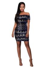 Womens Off Shoulder Scalloped Sequin Short Sleeve Clubwear Dress Blue