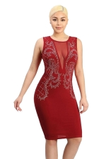 Womens Mesh Patchwork V Neck Rhinestone Sleeveless Clubwear Dress Red