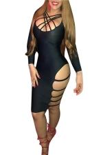 Womens Strappy Asymmetric Side Cutout Long Sleeve Clubwear Dress Black