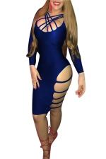 Womens Strappy Asymmetric Side Cut Out Clubwear Dress Sapphire Blue