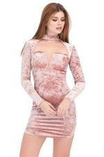 Womens Cut Out Long Sleeve Pleuche Mini Clubwear Dress Pink