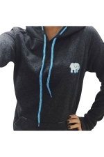 Womens Little Elephant Printed Long Sleeve Drawstring Hoodie Black