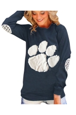 Womens Paw Printed Long Sleeve Pullover Sweatshirt Navy Blue
