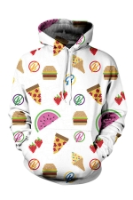 Womens Pocket Long Sleeve Snack Printed Pullover Hoodie White