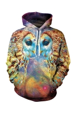 Womens Pocket Long Sleeve Galaxy Owl Printed Pullover Hoodie Gold