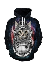 Womens Pocket Long Sleeve Funny Cat Printed Pullover Hoodie Black
