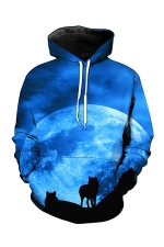 Womens Pocket Long Sleeve Wolf Printed Pullover Hoodie Blue