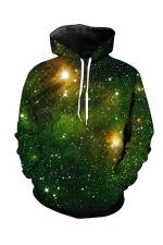 Womens Pocket Long Sleeve Galaxy Printed Pullover Hoodie Green