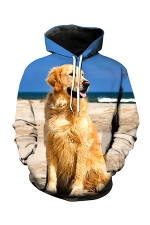 Womens Pocket Long Sleeve Seashore Dog Printed Pullover Hoodie Blue