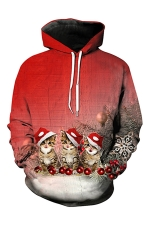 Womens Pocket Long Sleeve Xmas Cat Printed Pullover Hoodie Red