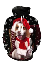 Womens Xmas Dog Printed Pocket Long Sleeve Pullover Hoodie Red