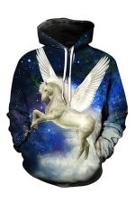 Womens Pegasus Printed Pocket Long Sleeve Pullover Hoodie Blue