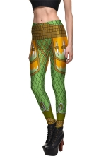 Womens Geometric Printed Quick Dry Ankle Length Leggings Green