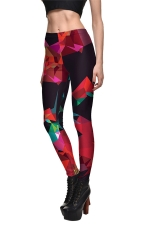 Womens Geometric Printed Quick Dry Ankle Length Leggings Rose Red