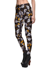 Womens Goose Printed Quick Dry Ankle Length Leggings Brown