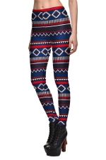 Womens Striped Printed Quick Dry Ankle Length Leggings Navy Blue