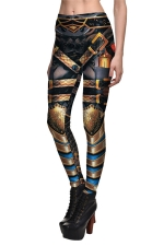 Womens Armour Printed Quick Dry Ankle Length Leggings Gold