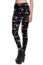 Womens Universe Printed Quick Dry Ankle Length Leggings Black