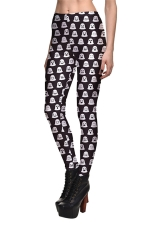 Womens Emoji Printed Quick Dry Ankle Length Leggings Black