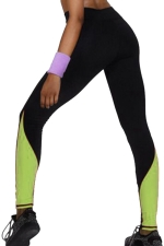 Womens High Waist Color Block Ankle Length Yoga Sports Leggings Green