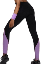 Womens High Waist Color Block Ankle Length Yoga Sports Leggings Purple