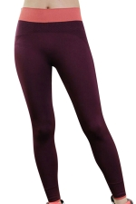 Womens High Waist Ankle Length Color Block Yoga Sports Leggings Ruby