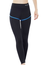 Womens False Two-piece High Waist Yoga Sports Leggings Blue