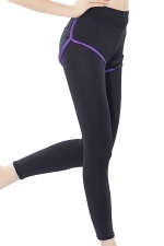 Womens False Two-piece High Waist Yoga Sports Leggings Purple