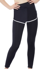 Womens False Two-piece High Waist Yoga Sports Leggings White