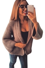 Womens Leisure Cable Knitted Plain Cardigan Sweater Khaki