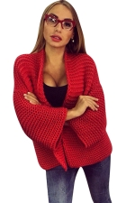 Womens Leisure Cable Knitted Plain Cardigan Sweater Red