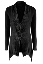 Womens Asymmetric Hem Cable Knitted Long Sleeve Cardigan Sweater Black