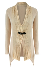 Womens Asymmetric Hem Cable Knitted Long Sleeve Cardigan Sweater Khaki