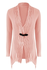 Womens Asymmetric Hem Cable Knitted Long Sleeve Cardigan Sweater Pink