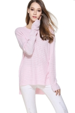 Womens High Low Crewneck Long Sleeve Plain Pullover Sweater Pink
