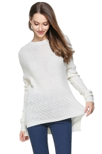Womens High Low Crewneck Long Sleeve Plain Pullover Sweater White