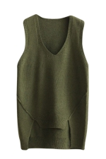 Womens V-neck High Low Plain Pullover Sweater Vest Army Green
