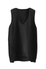 Womens V-neck High Low Plain Pullover Sweater Vest Black