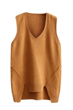 Womens V-neck High Low Plain Pullover Sweater Vest Khaki
