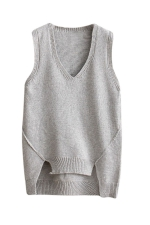 Womens V-neck High Low Plain Pullover Sweater Vest Light Gray