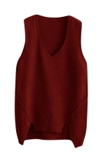 Womens V-neck High Low Plain Pullover Sweater Vest Ruby
