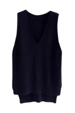 Womens High Low Side Slit V-neck Pullover Sweater Vest Black