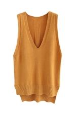 Womens High Low Side Slit V-neck Pullover Sweater Vest Khaki