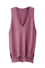 Womens High Low Side Slit V-neck Pullover Sweater Vest Purple