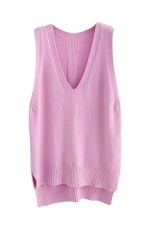 Womens High Low Side Slit V-neck Pullover Sweater Vest Pink