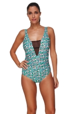 Womens Mesh Patchwork Cut Out Back Floral Printed Monokini Turquoise