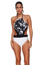 Womens Lace-up Halter Backless Floral Print Color Block Monokini White