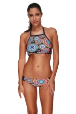 Womens Lace-up Halter Floral Printed Two-piece Bikini Suit Turquoise