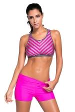 Womens Striped Pattern Sport Bra Swim Trunk 2pcs Swimsuit Rose Red